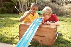 Race marbles down pool noodles! Get noodles at dollar store.
