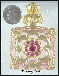 Czech Glass Perfume Bottle-LIGHT PINK & GOLD FILIGREE
