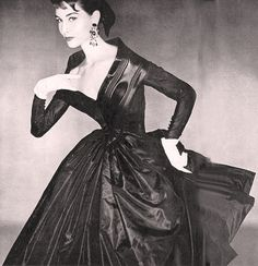 1954 black taffeta dress by Givenchy, photo by Clifford Coffin, Vogue