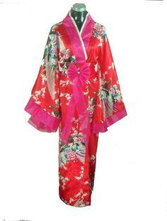 Japanese Silk Satin Kimono Yukata With Obi
