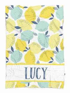 "Personalized baby gift for your new little love! Fun summer print in our Lucy Lemons design!   HOW TO ORDER: Leave name in notes to seller box on checkout page. SIZES: • Small 30"" x 40 - baby blanket size • Medium 50""x 60 - throw size   PRODUCTION: ♥️ Please allow approximately 1 week for"