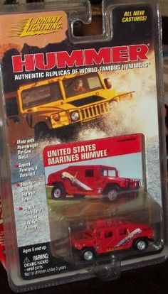 Johnny Lightning HUMMER United States Marines Humvee by Playing Mantis. $13.99. Bonus Photo Card Includes Vehicle History. Made with Die-Cast Metal. Johnny Lightning HUMMER United States Marines Humvee. Scale 1:64. Johnny Lightning HUMMER United States Marines Humvee