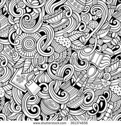 Cartoon hand-drawn doodles on the subject of cafe, coffee shop theme seamless pattern. Line art sketchy detailed, with lots of objects vector background