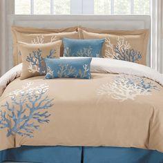 panama jack coral seas comforter set in taupeblue
