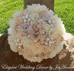 JEWELED BRIDES BOUQUET - Jeweled Satin Bridal Bouquet in Custom Color Scheme, Custom Wedding Bouquet, Satin Brides Bouquet, Wedding Bouquet