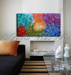 55''x26''ORIGINAL LANDSCAPE Large FOREST Painting Ready to hang, Colorful Abstract, by JuliaFineArt