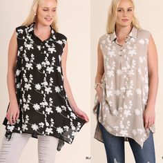 Umgee-WC0061 Black or Taupe sleeveless 5-button floral tunic available at Trees n Trends