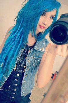 #blue #dyed #scene #hair #pretty