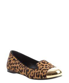 Saint Laurent leopard calf hair goldtone tip ballet flats   BLUEFLY up to 70% off designer brands