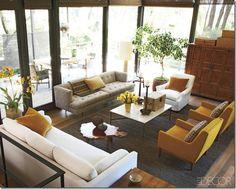 camel / neutral mid-century living room