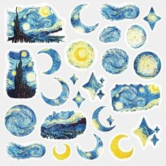 Van Gogh Starry Night Stickers - Pack of 24 - Artists, Painting Stickers, Vincent Van Gogh Stickers, Starry Night, Almond Blossoms Stickers Stickers Kawaii, Star Stickers, Cool Stickers, Planner Stickers, Journal Stickers, Scrapbook Stickers, Arte Van Gogh, Diary Decoration, Tumblr Stickers