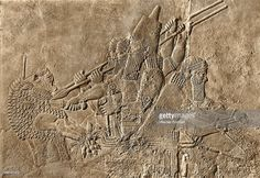 Stone relief from the Palace of Ashurbanipal, The King in his chariot kills the lion. Assyrian. Late Assyrian 668 627 BC. Nineveh, Assyria, Ancient Iraq. Visit page  View image   Save   View saved