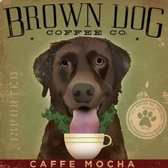 Brown Dog Labrador Coffee Company Canvas Art graphic art on canvas 12 x 12 by stephen fowler