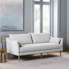 Antwerp Sofa, Twill, Teal, Almond at West Elm - Compact Sofas - Couches - Living Room Furniture Oversized Furniture, Mid Century Sofa, Puff, Contract Furniture, Gray Sofa, Upholstered Sofa, West Elm, Contemporary Furniture, Luxury Furniture