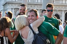 The winning team is met by their mums, Regatta of the Ancient Maritime Republics, Venice, Italy