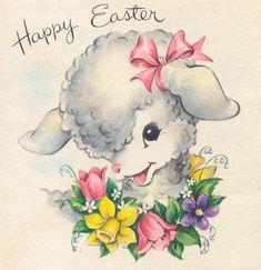 vintage Easter Lamb & flowers