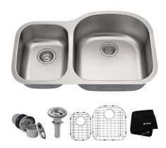 KRAUS - All-in-One Undermount Stainless Steel Double Bowl Kitchen Sink - Compatible with most disposals, the rear-set drain opening allows for added cabinet storage space. Best Kitchen Sinks, New Kitchen, Cool Kitchens, Modern Kitchens, Kitchen Redo, Kitchen Remodel, Kitchen Ideas, Kitchen Design, Kitchen Tools