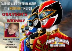 Power Rangers Megaforce Birthday Invitations and by mauisrael, $8.50