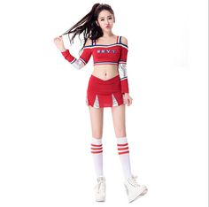 Envío gratis Sexy Cheerleader Costume Cheer Niñas Uniforme Escolar Traje de Fiesta Desgaste Rendimiento de Colores tamaño s-xl
