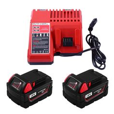 2Packs Replace 18V 5000mAh for Milwaukee Tools battery and M18 Lithium-ion Battery Charger for Milwaukee (GERIT BATT)