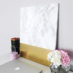 learn how to make this easy faux white marble u0026 gold canvas wall art which