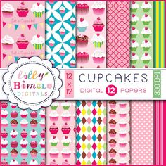 Cupcakes     12 papers    300 dpi high resolution .jpgs.    12 x 12 inches