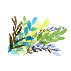 Foliage art Print of Original watercolor painting, colorful leaves in... (1.360 RUB) ❤ liked on Polyvore featuring home, home decor, wall art, fillers, flowers, backgrounds, art, plants, embellishments and detail