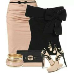 Bow pink black datenight