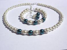 Pearl jewelry set Pearl Necklace Pearl by StunningGemsJewelry