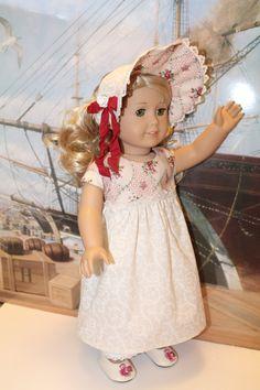 American Girl 1812 Caroline dress, bonnet, and pantaloons. via Etsy.