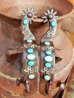 Rustic turquoise spurs by the Mad Cow Company. These are both stylish and functional for western riders! http://www.shopmadcownow.com/