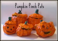 Pumpkin Pinch Pots, from the Chocolate Muffin Tree. Uses air-dry clay, so no kiln needed.