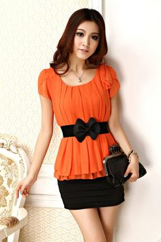 cute outfits for women | 2012 New Fashion Casual Women Chiffon Dresses with Belt Cute Novelty ...