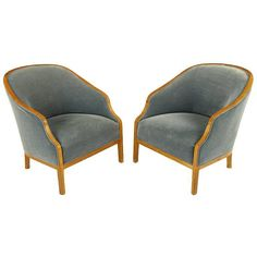 Pair of Ward Bennett Club Chairs in Walnut and Mohair | From a unique collection of antique and modern club chairs at https://www.1stdibs.com/furniture/seating/club-chairs/