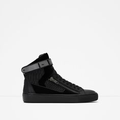 Image 1 of HIGH-TOP SNEAKERS WITH METALLIC CLOSURE from Zara