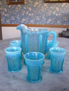Northwood-Reverse-Drape-Blue-Opalescent-Pitcher-And-Five-Tumblers