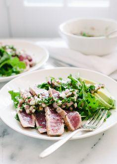 Seared Ahi Tuna with Chimichurri Sauce, Arugula and Avocado
