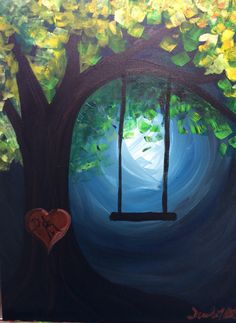Easy painting of the day! Tree and swing! What a fun one for beginners or for art lessons!