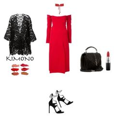 """Kimono & Red"" by zeynepkartal ❤ liked on Polyvore featuring Christopher Esber, Stuart Weitzman, Chloé, Yves Saint Laurent, MAC Cosmetics and kimonos"