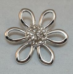 18mm Snap - Flower with clear crystals