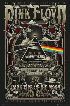 Pink Floyd Rainbow Theatre Poster In 2018 Iconic Metal Band Posters Image Pink Floyd Dark Side, Rock Vintage, Vintage Music, Imagenes Pink Floyd, Rock Logos, Poster S, Poster Prints, Arte Pink Floyd, Pink Floyd Poster