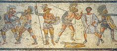 Part of the Zliten mosaic from Libya (Leptis Magna), about 2nd century CE. It shows (left to right) a thraex fighting a murmillo, a hoplomachus standing with another murmillo (who is signaling his defeat to the referee), and one of a matched pair