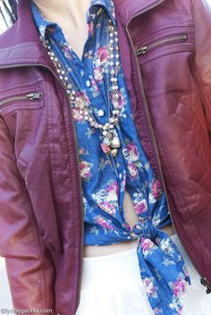 Deb Shops #floral tie front top paired with a #leather jacket