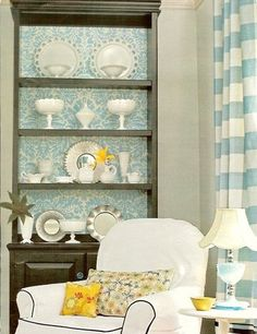 Wallpaper bookcase.