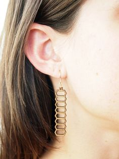 Stretched Honeycomb Laser Cut Earrings by foliadesignsf on Etsy, $44.00