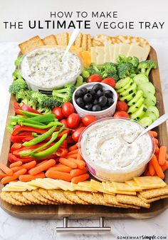 Vegetable Tray Impress your guests with this beautiful festive and healthy veggie tray This savory appetizer is a perfect compliment to any party It s quick and easy to p. Party Food Platters, Veggie Platters, Party Trays, Healthy Dinner Recipes, Appetizer Recipes, Healthy Snacks, Easy Healthy Appetizers, Healthy Kids Party Food, Food Kids