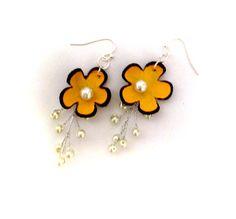 Flower leather earrings Yellow dangle long earrings by julishland, $13.00