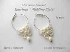 Macrame tutorial. Earrings Wedding Style от Makramania на Etsy