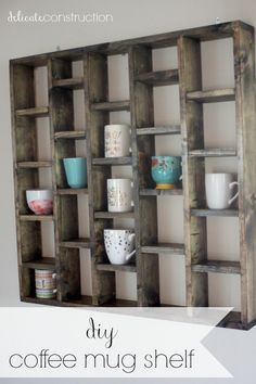 √ 50 DIY Coffee Bar Ideas inside the Home for Coffee EnthusiastCoffee Bar Ideas - Looking for some coffee bar ideas? Here you'll find home coffee bar, DIY coffee bar, and kitchen coffee station.Weathered Look Diy Coffee Shelf, Coffee Mug Display, Coffee Mug Holder, Coffee Mugs, Coffee Mug Storage, Coffee Beans, Coffee Nook, Coffee Time, Tea Cup Display