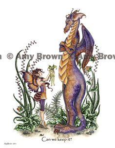 HaHa, Dragon as parent. TL.... PRINTS-OPEN EDITION - Dragons - Amy Brown Fairy Art - The Official Gallery